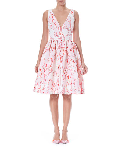 Sleeveless Fit-and-Flare Floral Fil Coupé Party Dress