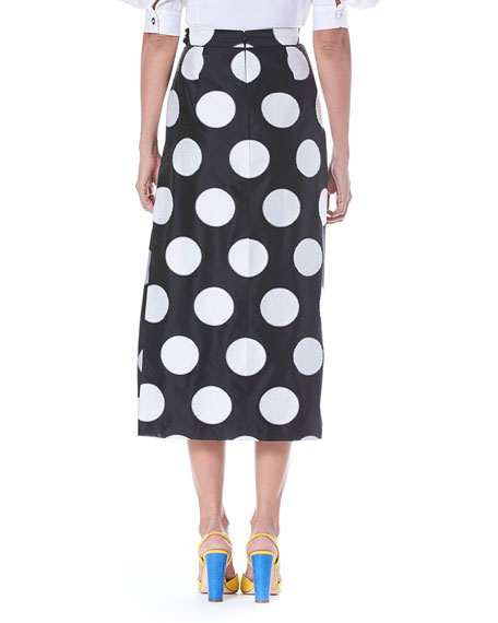 Faux-Wrap Side-Slit Dot-Print Midi Skirt