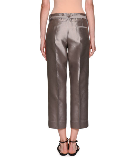 Silk Shantung Wide-Leg Cropped Pants