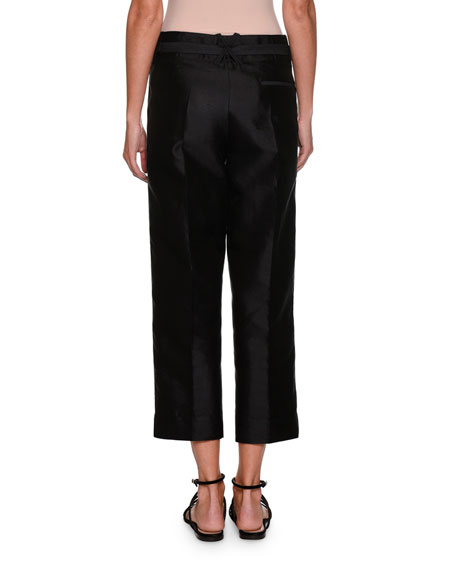 Silk Shantung Belted Straight-Leg Cropped Pants