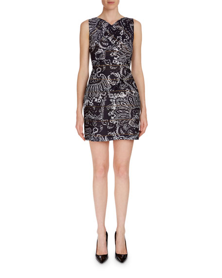 Foxley Sleeveless Paisley Jacquard Dress