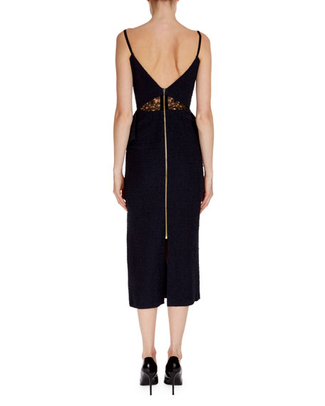 Sleeveless Boucle Peplum Midi Dress