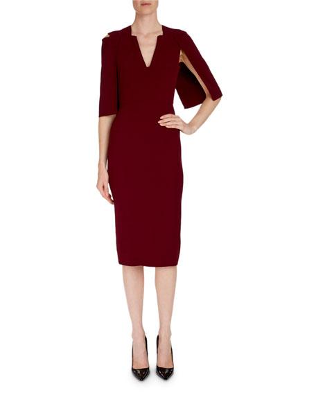 Cold-Shoulder Cape-Back Midi Dress