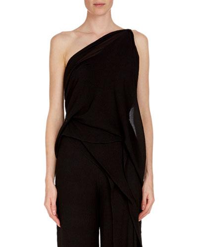 Bilton One-Shoulder Draped Asymmetric Textured Silk Top