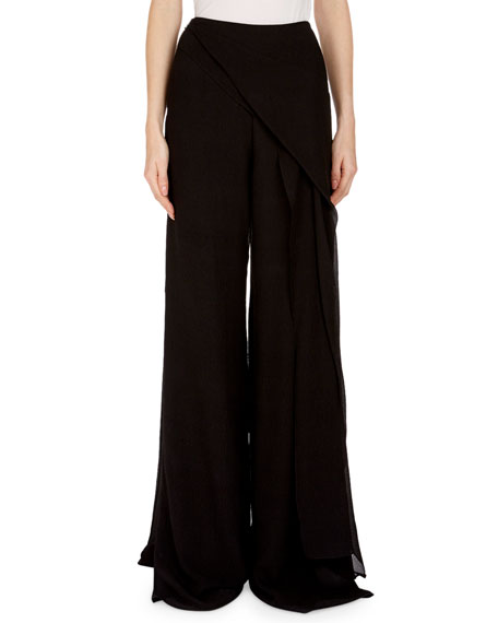 Wide-Leg Crepe Pants