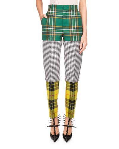 Tri-Panel Tartan Plaid Straight-Leg Wool Pants