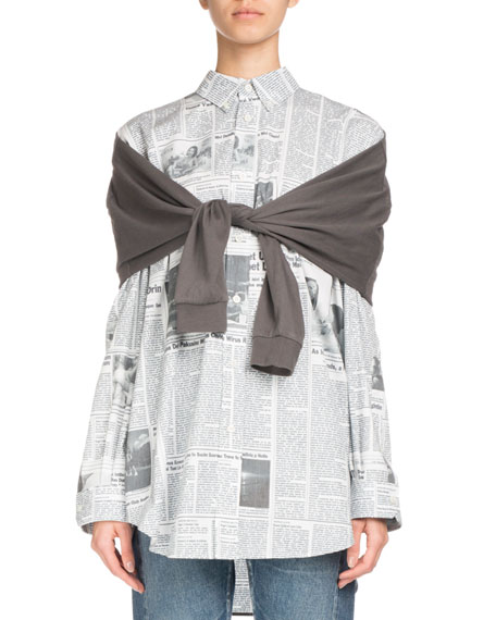 Newspaper-Print Button-Front Long-Sleeve Shirt
