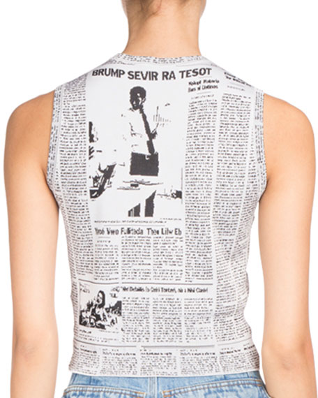 Sleeveless Newspaper Jacquard Top