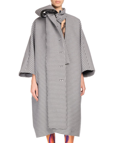 Plaid Button-Front Oversized Necktie Coat
