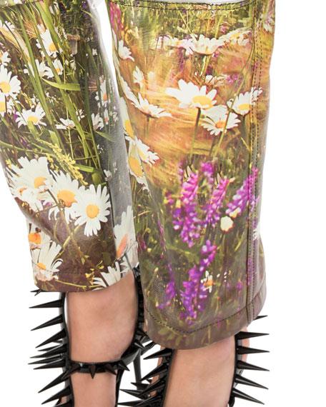 Mountains-Print Tri-Panel Straight-Leg Leather Pants