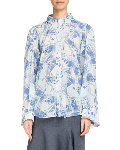 Button-Front Euro-Printed Silk Crepe Double Shirt