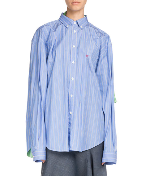 Double-Top Long-Sleeve Button-Front Striped Cotton Shirt
