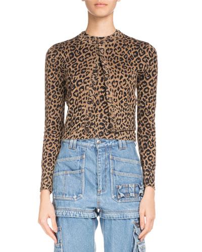 Leopard-Jacquard Button-Front Cardigan