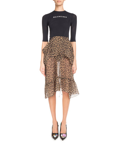 Leopard-Print Ruffled Skirt with Logo Sport Top Dress