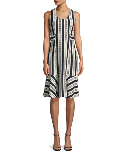 Sleeveless Striped Crochet Cotton Flounce Dress