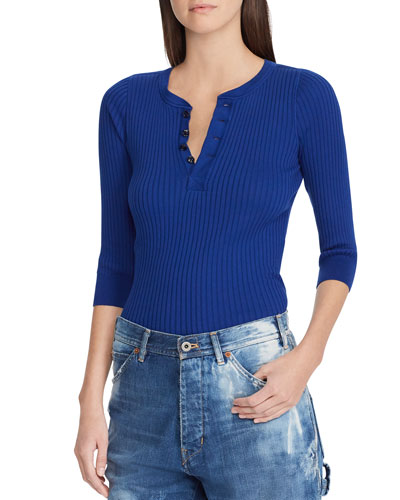 Ribbed Cotton Henley Pullover Top