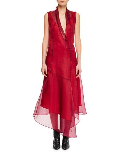 Sleeveless Silk Asymmetric Flared Midi Dress w/ Rolled Collar