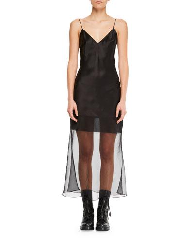 V-Neck Spaghetti-Strap Fitted Midi Cocktail Dress w/ Transparent Hem