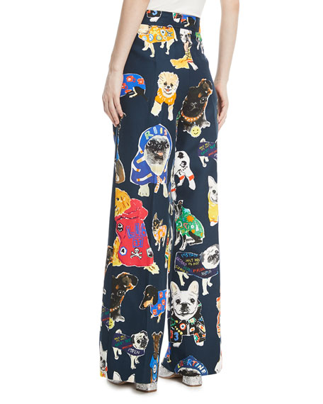 Dog-Print Wide-Leg Pants