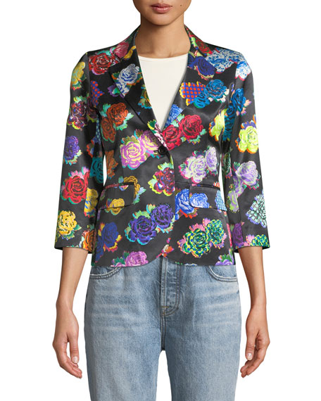 Rock Flower-Print Sateen Blazer