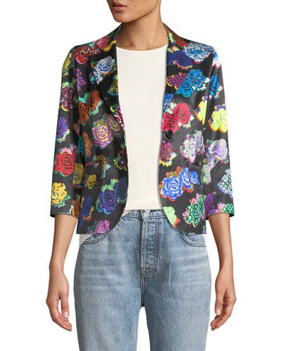 Rock Flower-Print Sateen Blazer