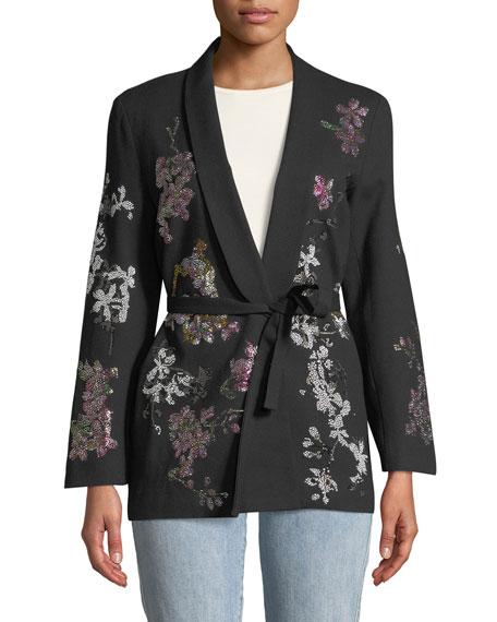 Floral Crystal-Embellished Tie-Waist Wool Blazer