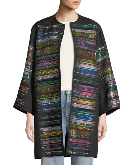 Beaded-Stripe Opera Coat
