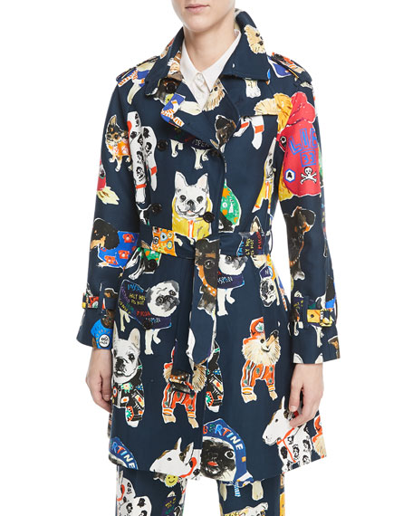 Dog-Print Trenchcoat