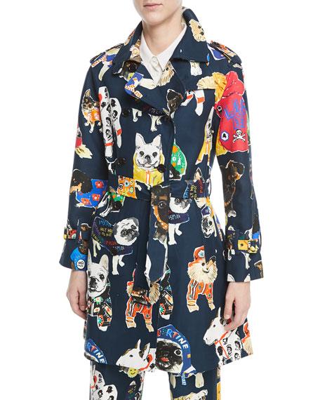 Dog-Print Trenchcoat