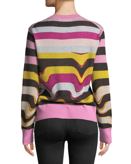 Beaded Wavy-Stripe Cashmere Sweater