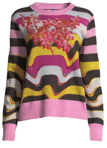 Beaded Wavy-Stripe Cashmere Sweater