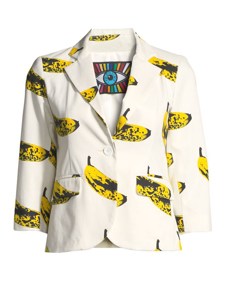 3/4-Sleeve Banana-Print Blazer