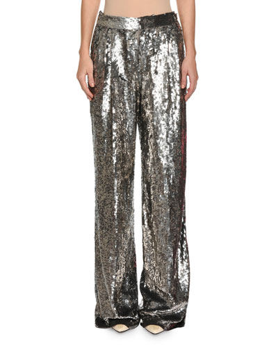 Sequined Wide-Leg Pants