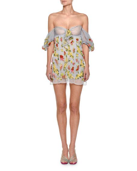 Beaded Off-the-Shoulder Organza Mini Dress