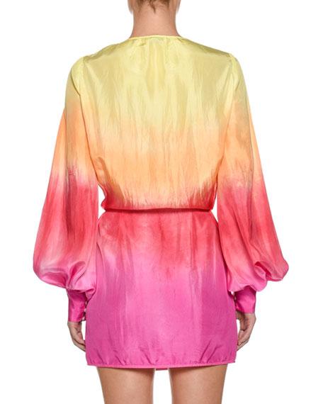 Ombre Balloon-Sleeve Robe Dress