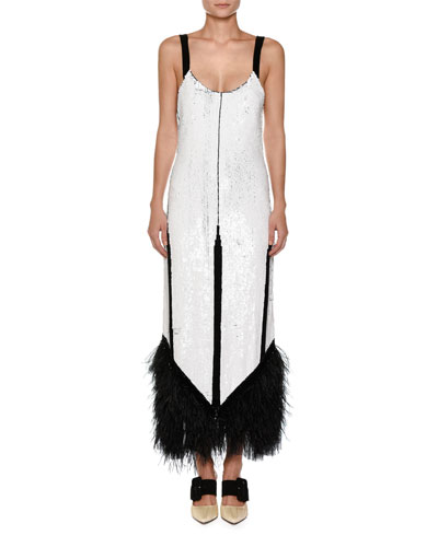 Sleeveless Sequined Feather-Trim Cocktail Dress