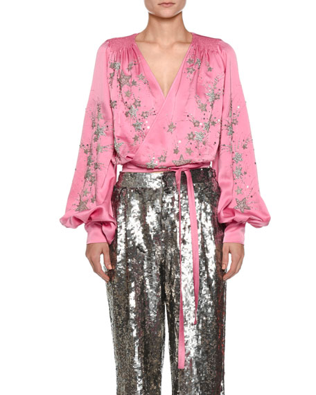 Star-Embroidered Satin Wrap Blouse