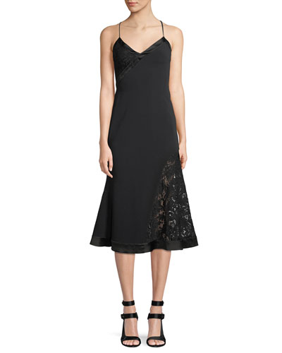 V-Neck Sleeveless Crepe Mid-Calf Dress with Lace Insets