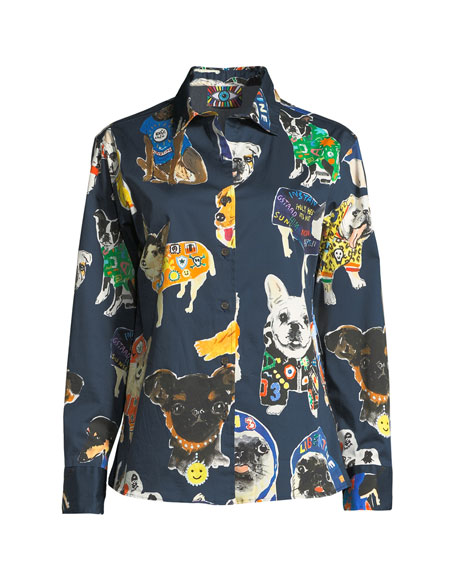 Dog-Print Button-Front Long-Sleeve Cotton Shirt