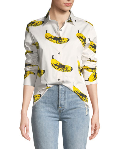 Long-Sleeve Banana-Print Blouse
