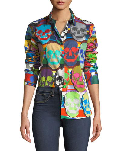 Long-Sleeve Skull-Print Blouse