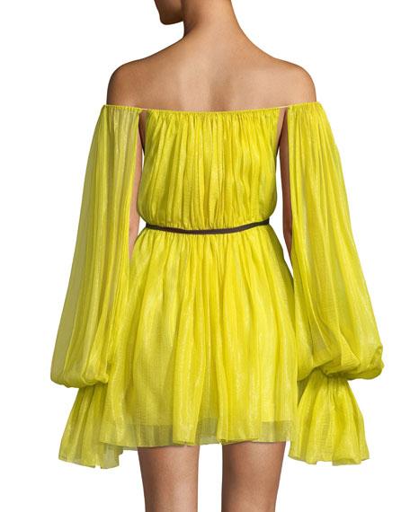 Pleated Chiffon Off-Shoulder Dress