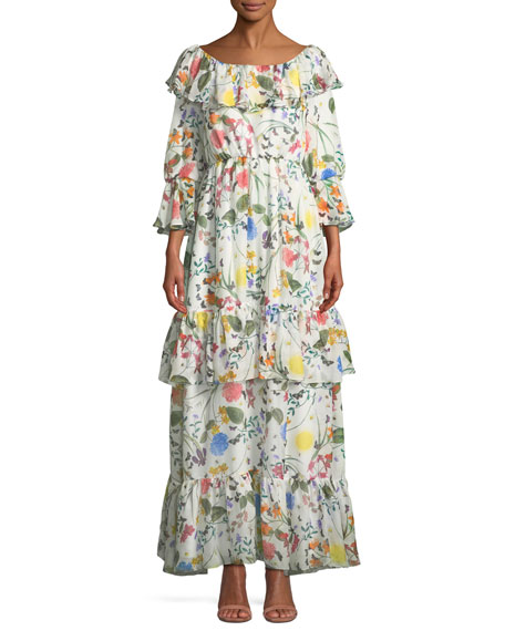 Margaux Ruffled Floral Maxi Dress