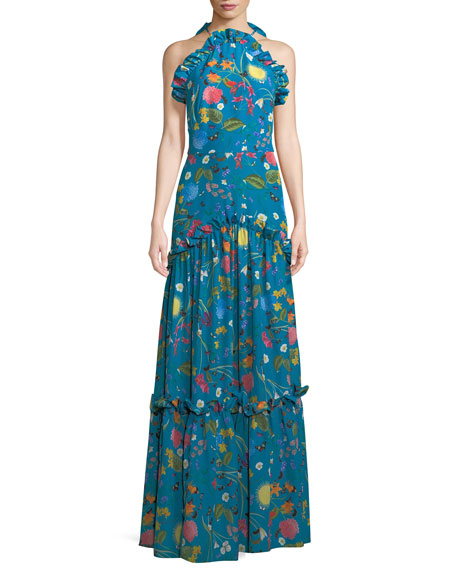 Tatiana Ruffled Halter-Neck Floral Gown