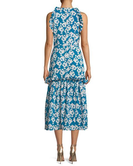 Dora Floral-Print Halter Midi Dress