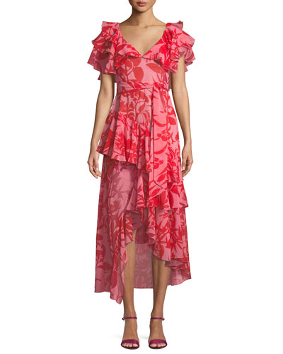 Short-Sleeve Leaf-Print Belted High-Low Silk Dress