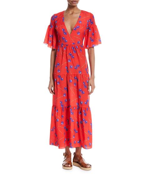 Teodora Orchid-Print Maxi Dress