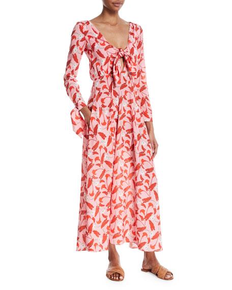 Sonia Tie-Front Midi Dress