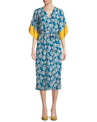 Raquel Floral-Print Kimono Wrap Dress