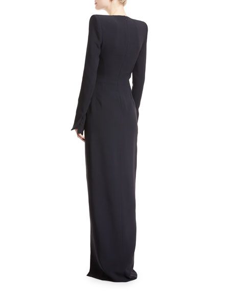 Plunging Long-Sleeve Crepe Gown